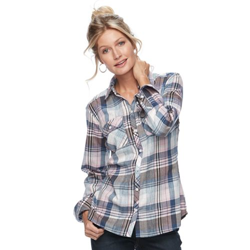 014daa62 Women's Croft & Barrow® Flannel Plaid Button-Down Shirt