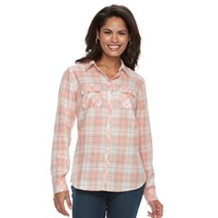 Women's Croft & Barrow® Flannel Plaid Button-Down Shirt
