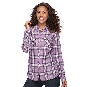Women's Croft & Barrow® Flannel Plaid Button-Down Shirt