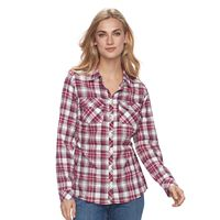 Women's Croft & Barrow® Flannel Button-Front Shirt