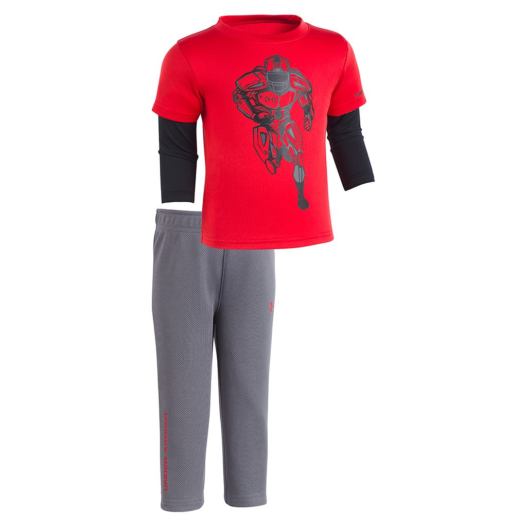 Baby Boy Under Armour Football Mock-Layer Tee & Pants Set