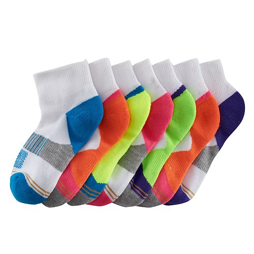 Girls 7-16 GOLDTOE 6-pack + 1 Bonus Colorblock 1/4-Crew Socks