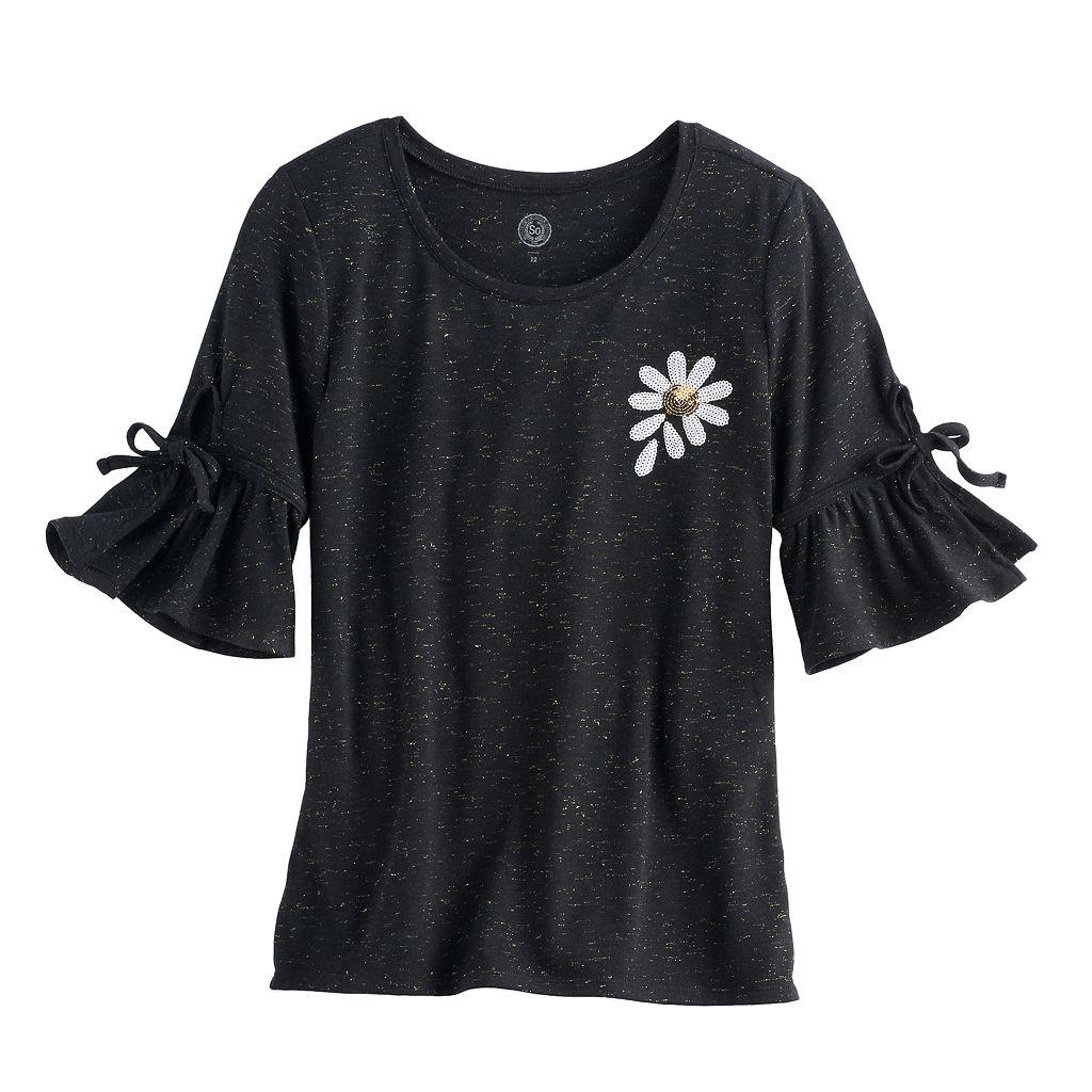 Girls 7-16 SO® 3/4-Length Bell Sleeve Sequin Tee