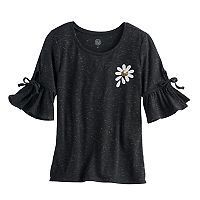 Girls 7-16 SO® 3/4-Length Bell Sleeve Sequin Tee