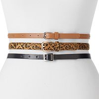 Women's Apt. 9® Leopard Print 3-for-1 Belt Set