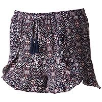 Juniors' Joe B Crepe Ruffle Trim Shortie Shorts
