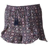 Juniors' Joe B Crepe Ruffle Trim Shortie Shorts