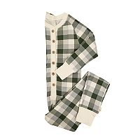 Kids Burt's Bees Organic Holiday Buffalo Plaid One-Piece Family Pajamas