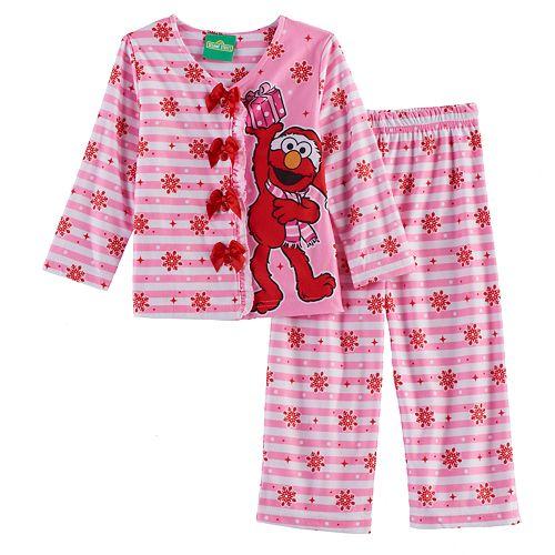 44362ee269 Toddler Girl Sesame Street 2-pc. Elmo Top   Pants Pajama Set