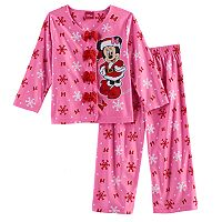 Disney's Minnie Mouse Toddler Girl Snowflake 2 pc Top & Pants Pajama Set
