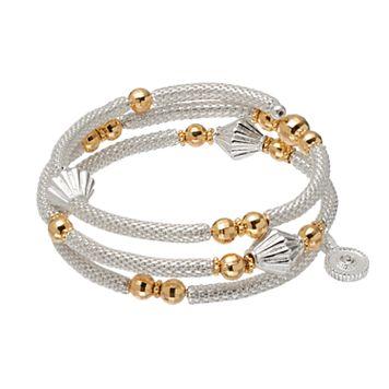 Jennifer Lopez Two Tone Beaded Mesh Coil Bracelet