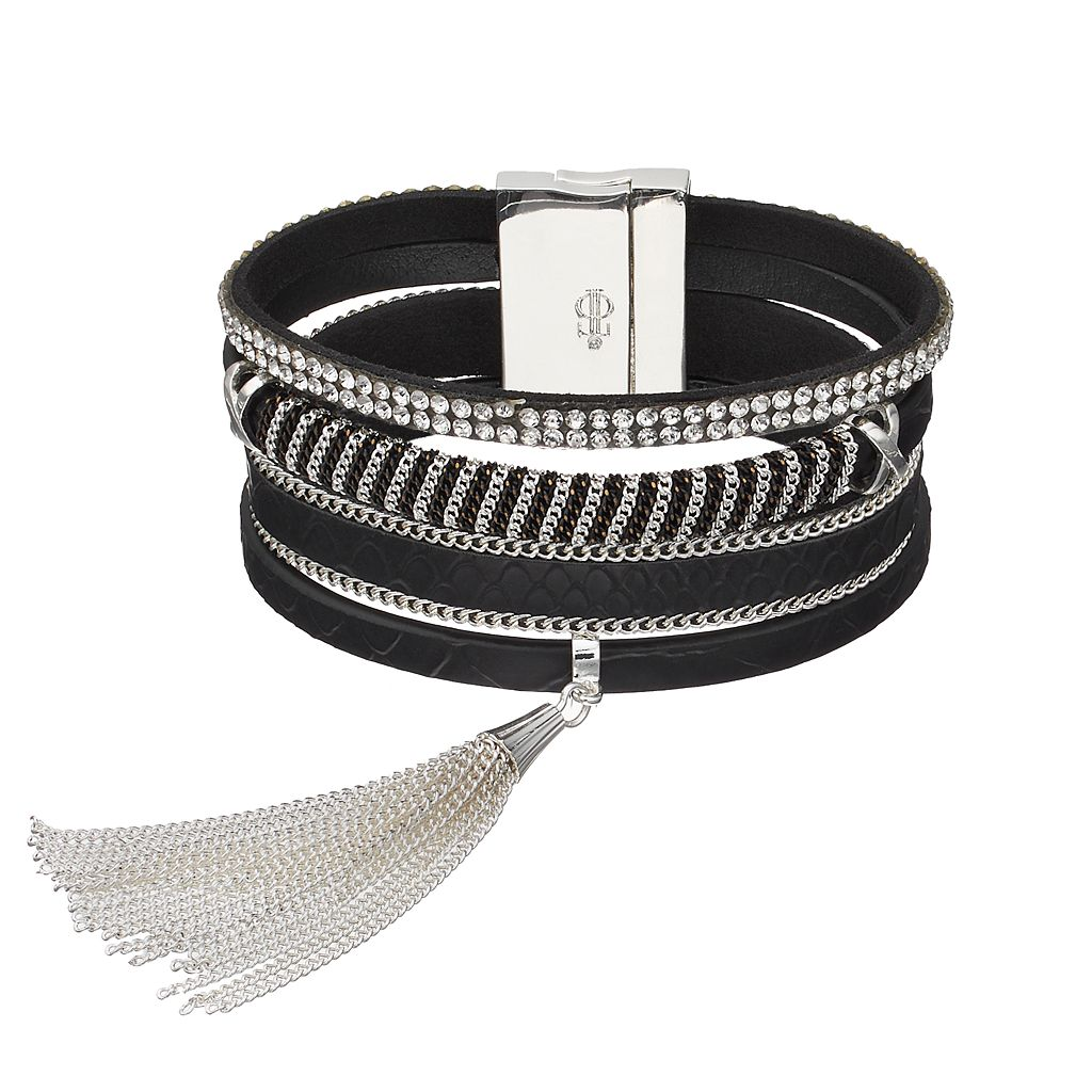 Jennifer Lopez Tassel Faux Leather Multi Strand Bracelet