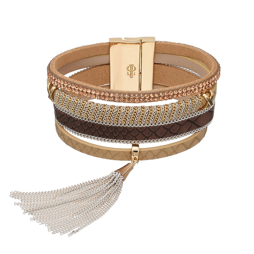 Jennifer Lopez Tassel Faux Leather Multi Strand Bracelet