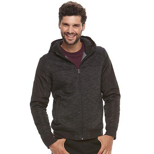 Men's Marc Anthony Slim-Fit Mixed Media Hooded Bomber Jacket