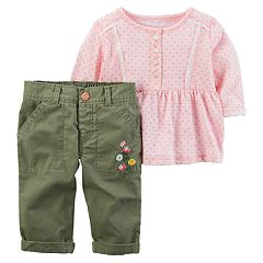 Baby Girl Carter's Geometric Henley Top & Embroidered Pants Set