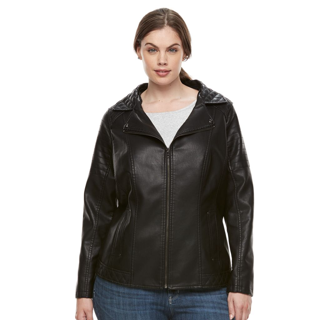 Plus Size Gallery Faux-Leather Jacket