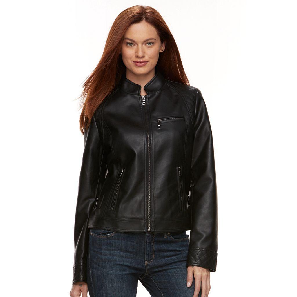 Women's Gallery Faux-Leather Moto Jacket