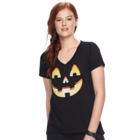 Juniors' Jack-o'-Lantern Graphic Halloween Tee