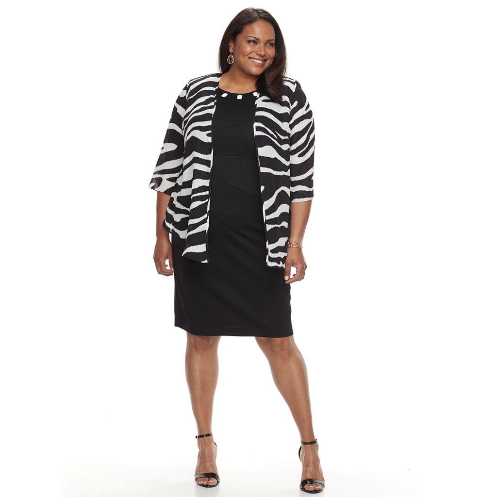 Plus Size Suite 7 Sheath Dress & Printed Chiffon Jacket