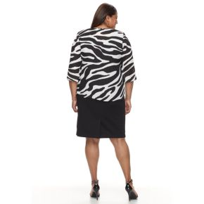 Plus Size Suite 7 Sheath Dress & Printed Chiffon Jacket
