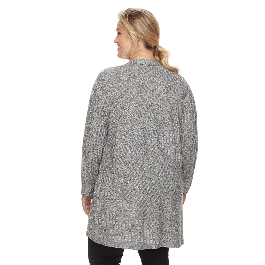 Plus Size Design 365 Ribbed Open-Front Cardigan