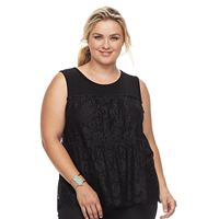 Plus Size Design 365 Tiered Lace Tank