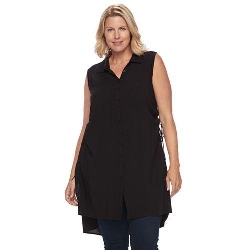 Plus Size Design 365 Lace-Up High-Low Hem Tunic