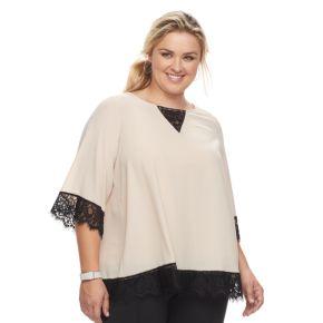 Plus Size Design 365 Lace-Trim Woven Top