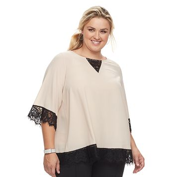Plus Size Design 365 Lace-Trim Woven Top