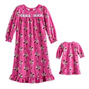 Disney's Minnie Mouse Toddler Girl Ruffled Nightgown & Doll Gown Set
