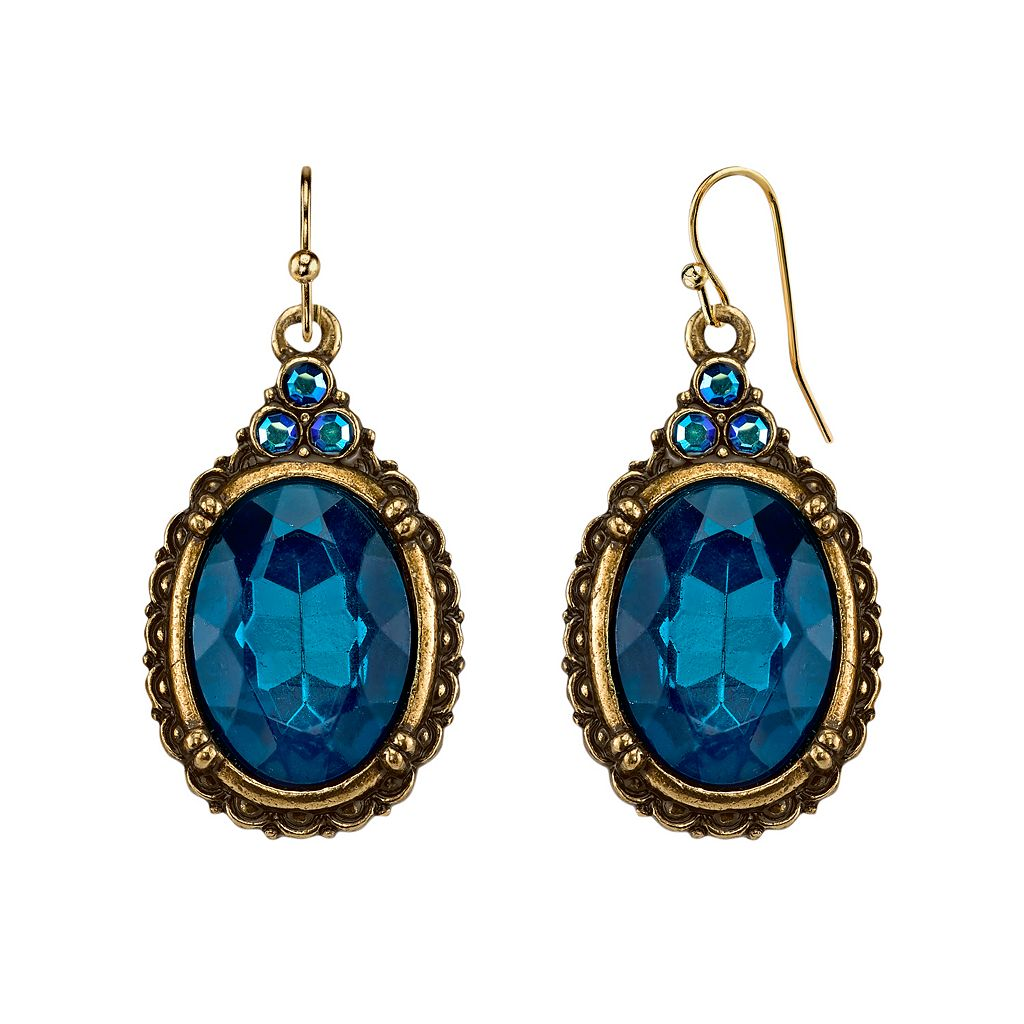 1928 Oval Faceted Stone Drop Earrings