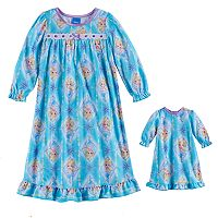 Disney's Frozen Toddler Girl Elsa Nightgown & Doll Gown Set