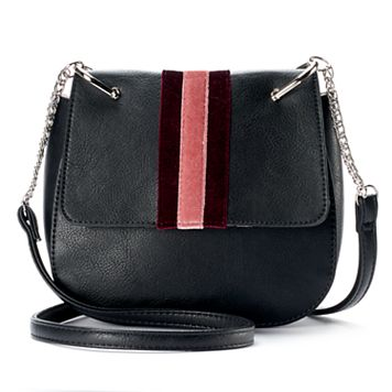 Candie's® Striped Velvet Saddle Bag