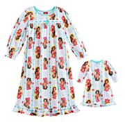 Disney's Elena of Avalor Toddler Girl Ruffled Nightgown & Doll Dress Set