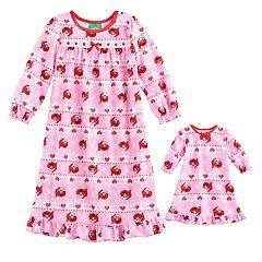 Toddler Girl Sesame Street Elmo Santa Hat Ruffled Nightgown & Doll Dress Set