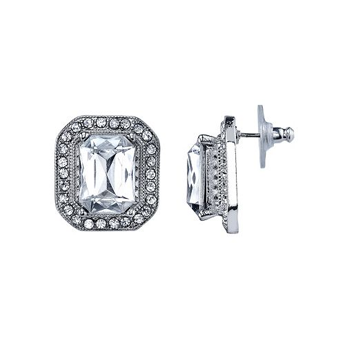 1928 Nickel Free Faceted Stone Rectangle Halo Stud Earrings
