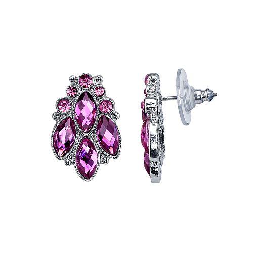 1928 Nickel Free Faceted Stone Cluster Stud Earrings