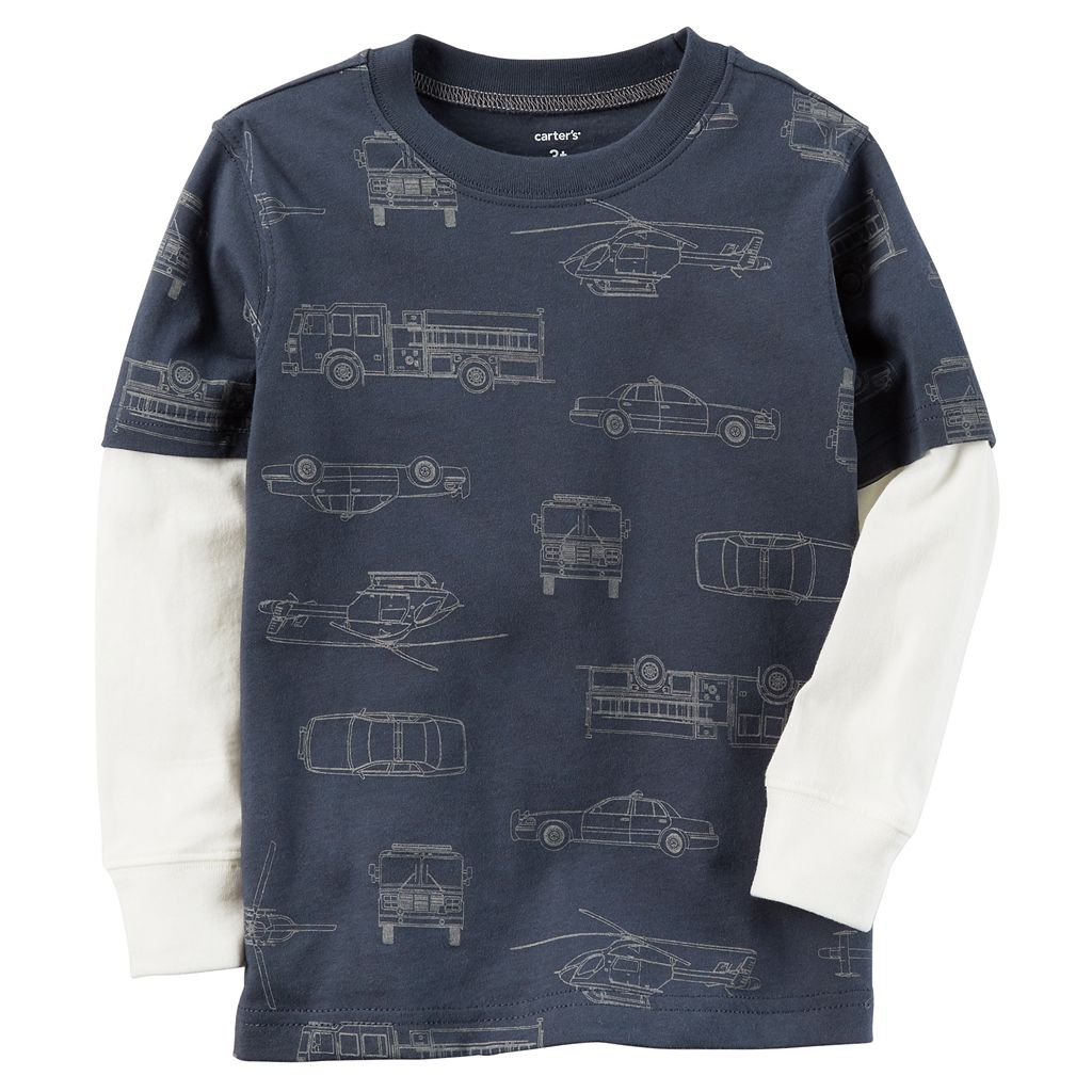 Toddler Boy Carter's Print Mock Layer Graphic Tee