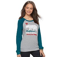 Juniors' California Grizzly Bear Graphic Raglan Sweatshirt