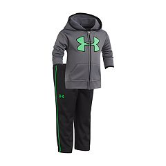 Baby Boy Under Armour Logo Gray Zip Hoodie & Pants Set