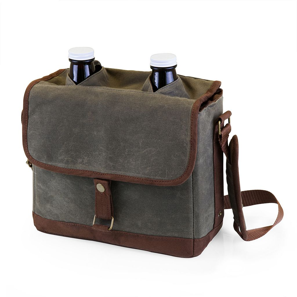Picnic Time Double-Growler Canvas Tote with Growlers
