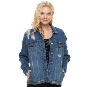 Juniors' Love, Fire Oversized Ripped Jean Jacket