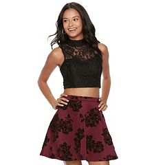 Juniors' Three Pink Hearts 2 pc Floral Lace Skater Dress