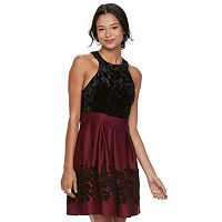 Juniors' Trixxi Floral Velvet Skater Dress
