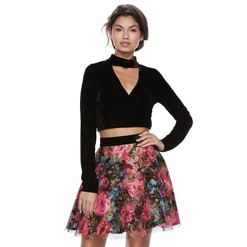 Juniors' Trixxi Floral Choker Neck 2-Piece Dress