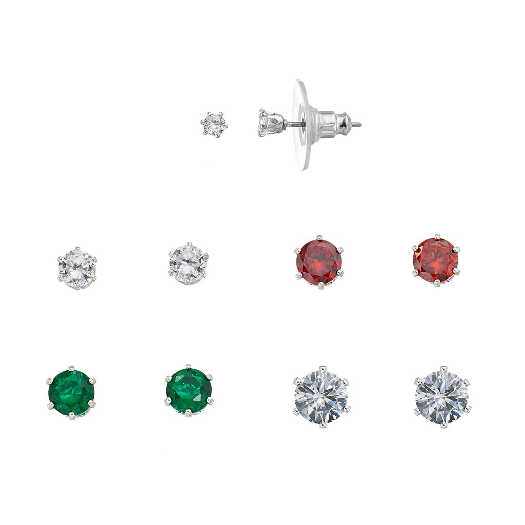 Red & Green Cubic Zirconia Stud Earring Set