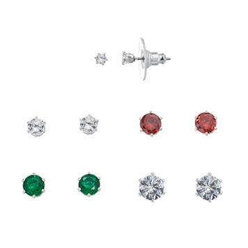 Red & Green Cubic Zirconia Stud Earring Set