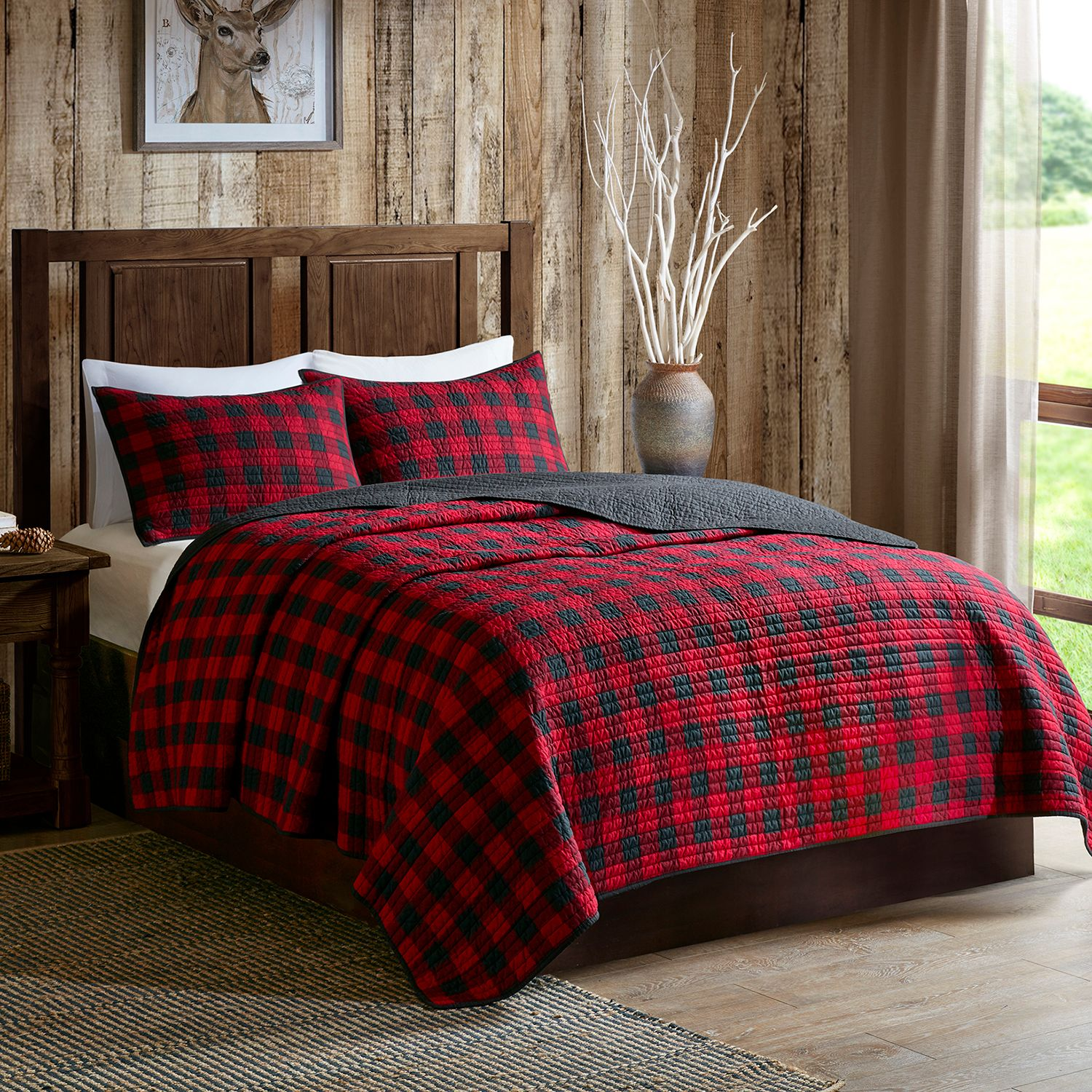 Awesome Woolrich 3 Piece Buffalo Check Quilt Set