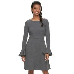 Petite Suite 7 Textured Bell Fit & Flare Dress