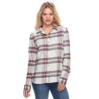 Juniors' SO® Embellished Flannel Shirt